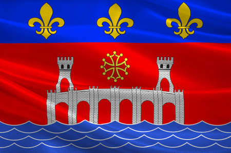 Flag of Villefranche-de-Rouergue is a commune in the Aveyron department in southern France. 3d illustration Standard-Bild