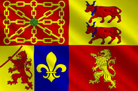 Flag of Pyrenees-Atlantiques is a department in the region of Nouvelle-Aquitaine, in southwestern France. 3d illustration  Reklamní fotografie