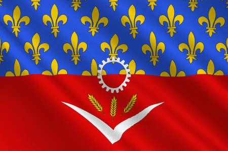 Bandiera della Seine-Saint-Denis è un dipartimento francese nella regione Ile-de-France. Illustrazione 3D Archivio Fotografico - 91630991
