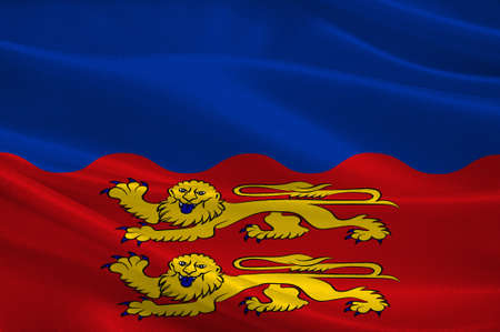 Flag of Calvados is a department in the Normandy region in northwestern France. 3d illustration