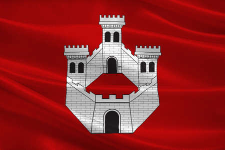 Flag of Bagneres-de-Bigorre is a commune and subprefecture of the Hautes-Pyrenees Department in the Occitanie region of southwestern France. 3d illustration Reklamní fotografie - 91631006