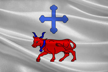 Flag of Oloron-Sainte-Marie is a commune in the Pyrenees-Atlantiques department in the region of Bearn in south-western France. 3D illustration Reklamní fotografie