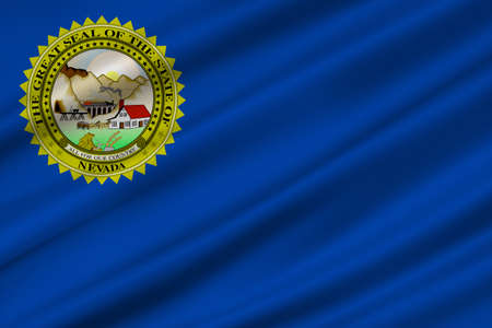 Flag of Nevada state in the Western of United States. 3D illustration Stock Photo