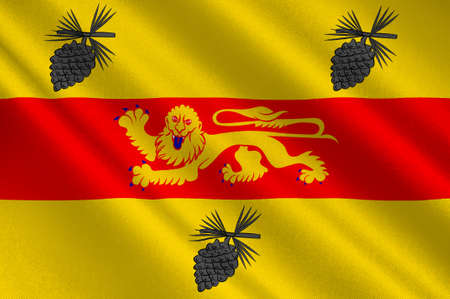 Flag of Landes is a department in southwestern France. 3d illustration  Stock Photo