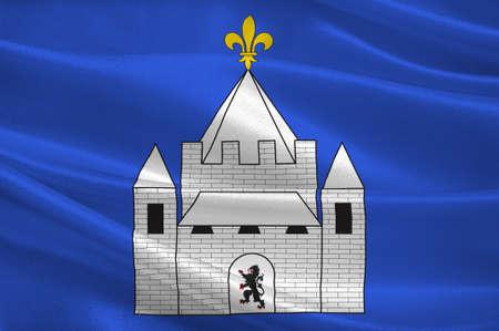 Flag of Provins è un comune nel dipartimento di Seine-et-Marne nella regione Ile-de-France, nel centro-nord della Francia. Illustrazione 3D Archivio Fotografico - 91631137