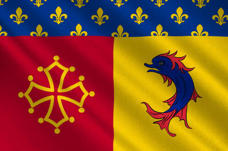 Flag of Hautes-Alpes is a French department in the southeastern of France. 3d illustration  Stock Photo
