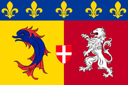 Flag of Rhone-Alpes is a former administrative region of France. 3d illustration