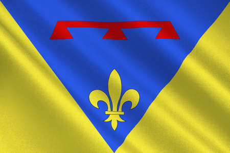 Flag of Var is a department in the Provence-Alpes-Cote dAzur region in Provence in southeastern France. 3d illustration