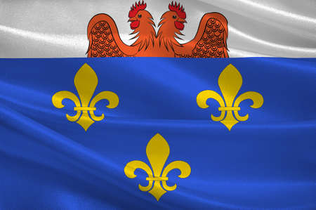 Flag of Versailles is a city in the Yvelines departement in Ile-de-France region, France. 3d illustration Stock Photo