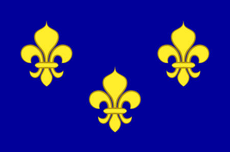 Flag of Ile-de-France also known as the region parisienne is one of the 18 regions of France, and includes the city of Paris. 3d illustration Standard-Bild