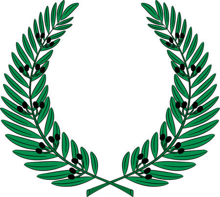 Olive wreath - symbol of victory and achievement. Design element for construction of medals, awards, coat of arms. Vector illustration Illustration