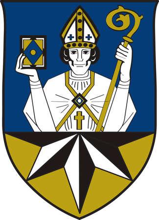 Coat of arms of Korbach is the district seat of Waldeck-Frankenberg in northern Hesse, Germany. Vector illustration Illustration