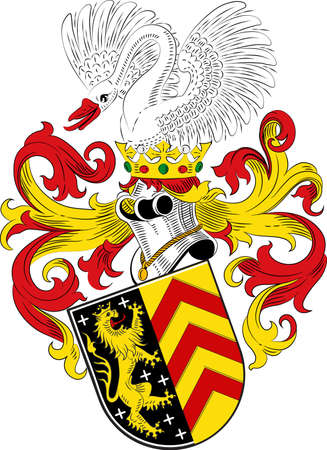 Coat of arms of Hanau is a town in the Main-Kinzig-Kreis, in Hesse, Germany. Vector illustration