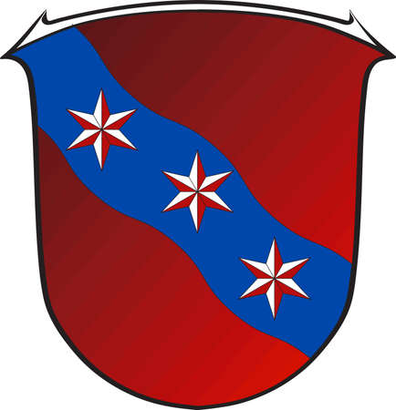 Coat of arms of Erbach is a town and the district seat of the Odenwald district in Hesse, Germany. Vector illustration