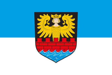 Flag of Emden is a town and seaport in Lower Saxony in the northwest of Germany. Illustration