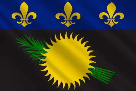 Flag of Guadeloupe is an insular region of France located in the Leeward Islands, part of the Lesser Antilles in the Caribbean. 3d illustration Standard-Bild