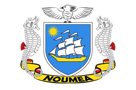 ヌメアの旗は、ニューカレドニアのフランスの特別な集団の首都と最大の都市です。3Dイラスト 写真素材