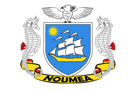 Flag of Noumea is the capital and largest city of the French special collectivity of New Caledonia. 3d illustration Stok Fotoğraf