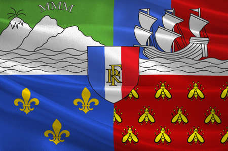 Flag of Reunion is an island and region of France in the Indian Ocean. 3d illustration