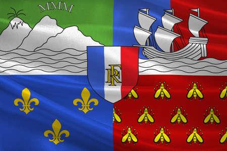 Flagge von Reunion ist eine Insel und Region von Frankreich im indischen Ozean . 3D-Darstellung Standard-Bild - 92214442