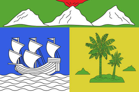 Flag of Saint-Denis is the prefecture of the French overseas region and department of Reunion, in the Indian Ocean. 3d illustration