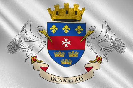 Flagge von Mamers ist eine Gemeinde im Departement Sarthe in der Region Pays-de-la-Loire im Nordwesten Frankreichs. Abbildung 3d Standard-Bild - 92214443