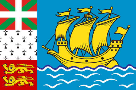 Flag of Saint Pierre and Miquelon, officially the Overseas Collectivity of Saint Pierre and Miquelon is a self-governing territorial overseas collectivity of France, situated in the northwestern Atlantic Ocean. 3d illustration