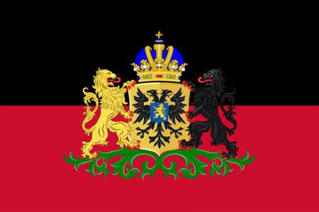 Vlag van Nijmegen historisch verengelst zoals Nimeguen is een gemeente en een stad in de Nederlandse provincie Gelderland. 3D illustratie Stockfoto