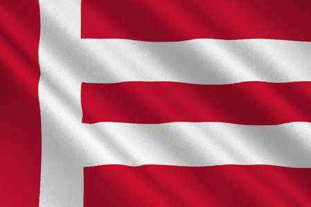 Vlag van Eindhoven is een gemeente en een stad in de provincie Noord-Brabant in het zuiden van Nederland. 3D illustratie Stockfoto - 92343328