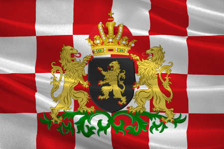 Flag of North Brabant is a province in the south of the Netherlands. 3d illustration Standard-Bild