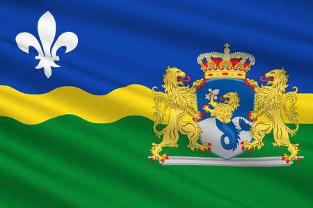 Flag of Flevoland is a province of the Netherlands. 3d illustration