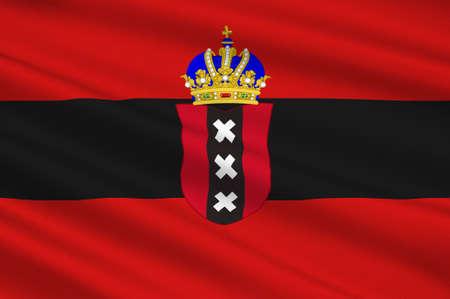 Vlag van Amsterdam is de hoofdstad en meest bevolkte stad van het Koninkrijk der Nederlanden. 3D illustratie Stockfoto - 92343471