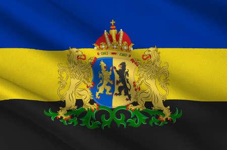 Flag of Gelderland is a province of the Netherlands. 3d illustration Standard-Bild