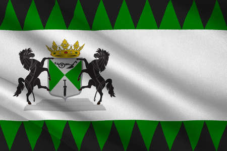 Flag of Emmen is a municipality and a town in the northeastern Netherlands. 3d illustration