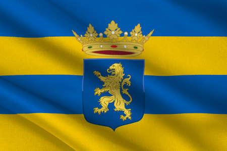 Vlag van Leeuwarden is een stad in Nederland. Het is de hoofdstad van de provincie Friesland. 3D illustratie
