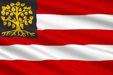 Vlag van Hertogenbosch is een stad en gemeente in het zuiden van Nederland. Het is de hoofdstad van de provincie Noord-Brabant. 3D illustratie Stockfoto