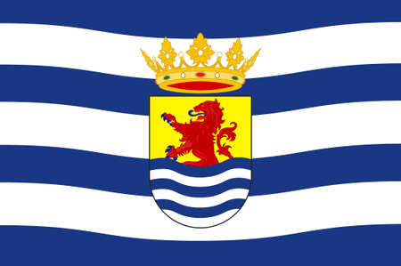 Flag of Zeeland is the westernmost province of the Netherlands. 3d illustration Stock Photo