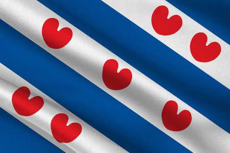 Vlag van Friesland of Frisia is een provincie in het noordwesten van Nederland. 3D illustratie Stockfoto