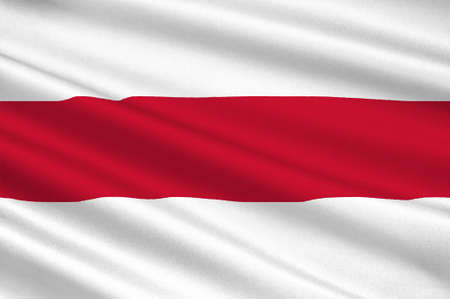 Flag of Enschede also known as Eanske in the local dialect of Twents, is a municipality and a city in the eastern Netherlands in the province of Overijssel and in the Twente region. 3d illustration