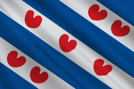 Flag of Friesland or Frisia is a province in the northwest of the Netherlands. 3d illustration