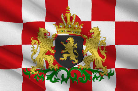 Flag of North Brabant is a province in the south of the Netherlands. 3d illustration Stockfoto - 92420965