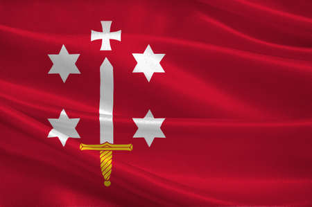 Flag of Haarlem is a city and municipality in the Netherlands. 3d illustration