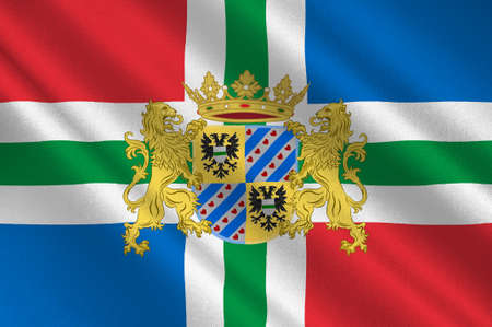 Flag of Groningen is the northeasternmost province of the Netherlands. 3d illustration