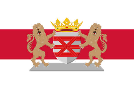 Flag of Enschede also known as Eanske in the local dialect of Twents, is a municipality and a city in the eastern Netherlands in the province of Overijssel and in the Twente region. 3d illustration Stok Fotoğraf - 92421303