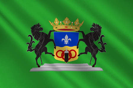 Flag of Dronten is a municipality and a town in the central Netherlands, in the province of Flevoland. 3d illustration