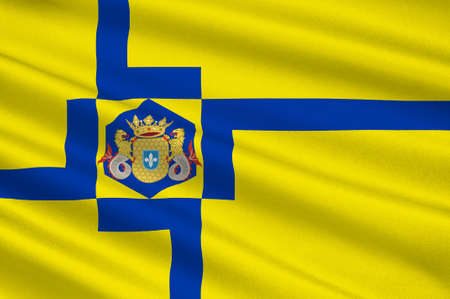 Flag of Lelystad is a municipality and a city in the centre of the Netherlands, and it is the capital of the province of Flevoland. 3d illustration
