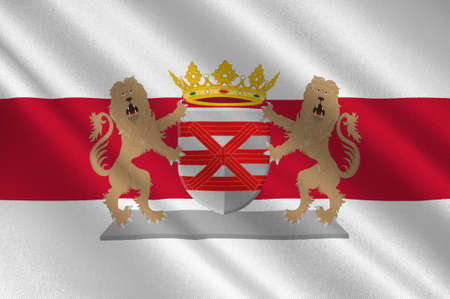 Flag of Enschede also known as Eanske in the local dialect of Twents, is a municipality and a city in the eastern Netherlands in the province of Overijssel and in the Twente region. 3d illustration Stok Fotoğraf - 92344903