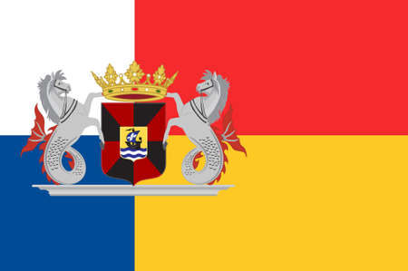Flag of Almere is a planned city and municipality in the province of Flevoland, Netherlands, bordering Lelystad and Zeewolde. 3d illustration Stock Photo