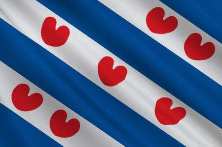 Vlag van Friesland of Friesland is een provincie in het noordwesten van Nederland. 3D illustratie Stockfoto