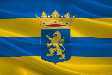 Flag of Leeuwarden is a city in the Netherlands. It is the capital city of the province of Friesland. 3d illustration